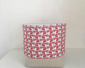 Fabric Storage Basket, Nursery Storage, Fox, Container, Organizer, Small Basket, Baby Room Nappy Storage, Storage Bin,