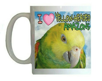I Love Yellow-headed Amazons Amazon Parrot Blue Sky Clouds White 11oz Ceramic Coffee Mug