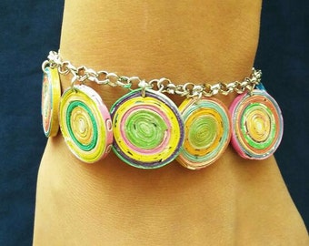 Charm bracelet recycled magazine paper, FREE SHIPPING, First anniversary gift  , Colorful  bracelet, Quilled paper bracelet, bridesmaid gift