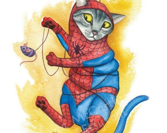 """Spidey Cat - Watercolor 8x10"""" print of a cat as Spider-Man tangled in his web"""