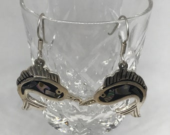 Vintage TAXCO TM-294 Mexico Sterling Silver 925 Abalone Inlay Swordfish Drop Earrings MARKED