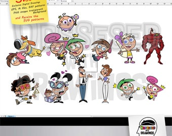The Fairly Oddparents digital illustrations, SVG patterns, PNG images and editable files, Wall decals applications and more