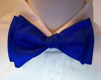 Freestyle Bow Tie Royal Blue Dupioni Silk