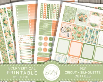 ECLP Vertical Stickers, Weekly Planner Kit for Erin Condren, Printable Planner Stickers, Floral Planner Stickers, Digital Washi, VS126