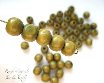 Natural Wooden Beads, 8mm Beads, Light Brown Wood, Tan Beige Beads, Off Round Shape, Boho Rustic Beads, Jewelry & Crafts - 24 Pieces  SP554
