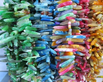 Pick your color- Agate Stick Point Spike Beads 30- 65mm -Top Drilled -45pcs/Strand