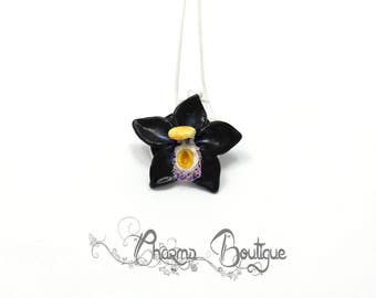 Orchid Necklace Black Orchiid Dainty Necklace Flower Necklace Flower Jewelry Orchid Jewelry Polymer Clay Orchid Lovely Necklace Gift for her