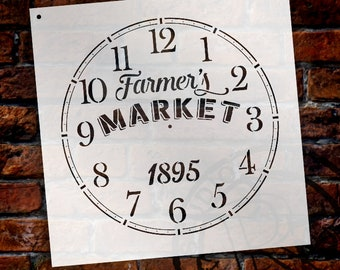 Round Clock Stencil - Farmers Market Words -  Small to Extra Large DIY Painting on Wood for Farmhouse Country Home Decor Walls - SELECT SIZE