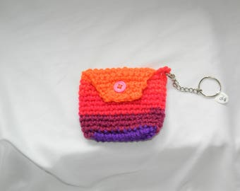 Crocheted Sunset Keychain Coin Pouch