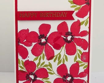 Bright red flower birthday card with gold heat embossed sentiment
