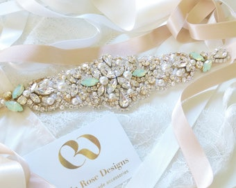 bridal belt, thin bridal belt, gold and silver wedding belt, beaded sash, pearl bridal sash, wedding dress sash, beaded bridal