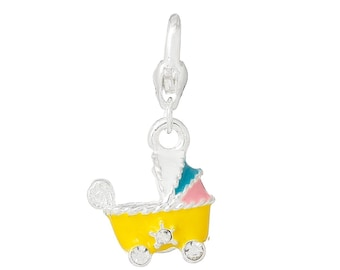 x 1 pendant charm stroller baby yellow, pink, blue and white enamel with Rhinestones.