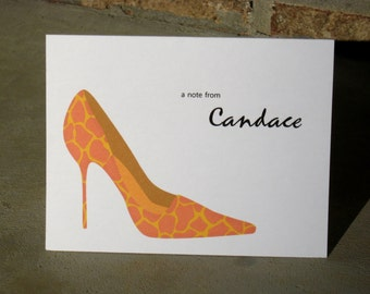 Personalized Note Cards - Cheetah Print - Set of 8 High Heel Shoes Note Cards