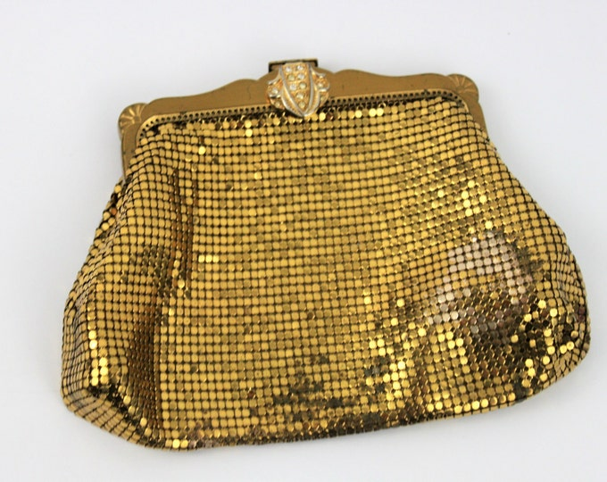 Elegant Vintage Antique Whiting and Davis Gold Metal Mesh Purse with Rhinestone Clasp #2996