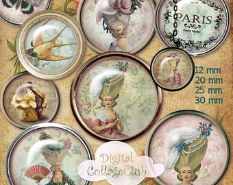 80% Off Spring Sale Shabby Chic Marie Antoinette Digital Collage Sheet 12 mm, 20 mm, 25 mm, 1 inch, 30 mm Round Images for Jewelry Making