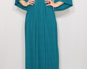 Teal dress women Maxi dress Empire waist dress Kimono dress Women Long dress Teal blue
