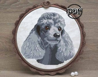 Silver Poodle cross stitch pattern pdf - Poodle embroidery design - Poodle lover gifts - Poodle wall art - Poodle pattern - Poodle ornament