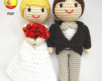 Patrón de amigurumi: Pareja de novios para tarta nupcial. Novio y novia de ganchillo para pastel de boda. Novios amigurumi (PDF en ESPAÑOL)