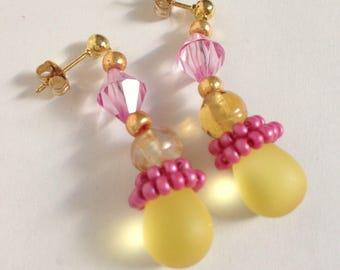 Dangle earrings, Boho earrings, Beaded earrings, Gift for her, Gift for women, Boho jewelry, Bohemian jewelry, Handmade jewelry, Yellow