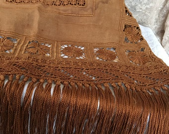 Vintage Piano Cover. Golden Brown Heavy Open Needlework Designed and Fringed Piano Cloth. Woven Open Work Spider Web Stitches.