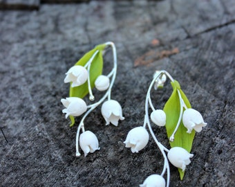 Lily of the valley earrings - polymer clay handmade pendant - bridal shower gift, anniversary gift, Mother's Day Gift