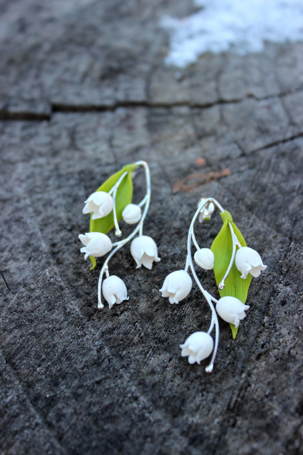 Lily of the valley earrings polymer clay handmade pendant zoom izmirmasajfo