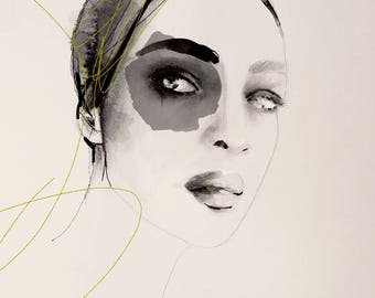 Full Circle  - Fashion Illustration Portrait Art Print
