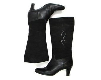 80s Size 9 Black Leather Boots | Cut Out Suede Boots | La Vallie, Made in Canada