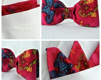 Fuchsia Bow Tie and Pocket Square Set , Groomsmen Gift , Handkerchief and Bowtie , Mens Wedding , Dad for Fathers Day