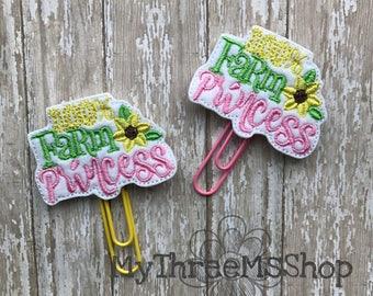Planner Feltie, 100% Farm Princess Feltie Paperclip Bookmark, Farm Princess felt applique, Farm Life Planner, Farm Life Feltie, Planner Clip