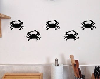 Crab Wall Decals, Set of 10, Ocean Beach house Bedroom Bathroom stickers removable fish tropical