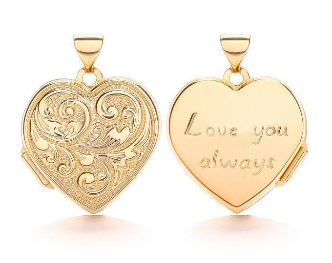 9ct Yellow Gold Heart Shaped 2 Photo Scroll Locket Engraved Love You Always