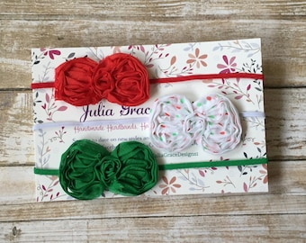 Christmas Headbands, Red Bow Headband, Christmas Headband Set, Baby Hair Bow, Baby Headband, Baby Girl Headband, Infant Headband, Headband