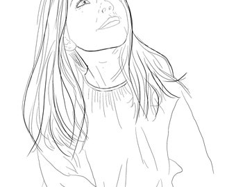 Custom Pen & Ink Portrait Digital Sketch from your photograph