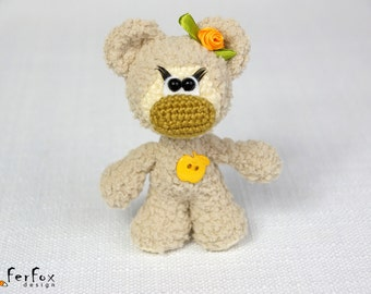 Stuffed bear, plush teddy bear, woodland plush, amigurumi bear, crochet animal, stuffed bear, softie bear - Tina the Girl-bear