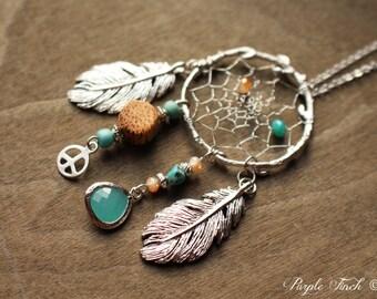 "Couture Silver Birds Nest Dreamcatcher Necklace Dream Catcher Approx. 24"""