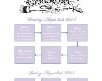 """PRINTABLE Wedding Weekend Itinerary Flowchart - custom printable 8.5x11"""""""