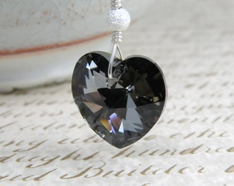 Black Crystal Heart Pendant, Hematite Swarovski Necklace, Sterling Silver, Goth Valentine Gift, Sweetheart Jewelry, Handmade for Women