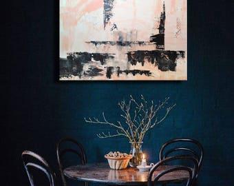 "36x26"" Pink Black White Original Abstract Acrylic Painting Wall Art Modern Art Decor"