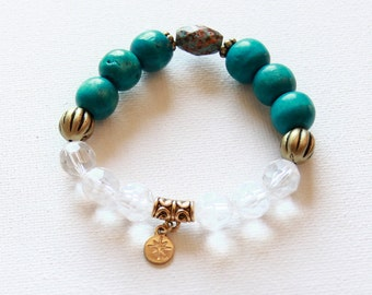 Gold Compass Charm Turquoise Beaded Bracelet
