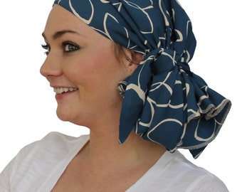 Jessica Pre-Tied Head Scarf, Women's Cancer Headwear, Chemo Scarf, Alopecia Hat, Head Wrap, Head Cover for Hair Loss - Teal Flowers