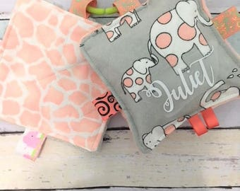 Baby girl toys, crinkle sound toys, set of two, elephant toys, coral and gray crinkle toys, . Comes with a link.