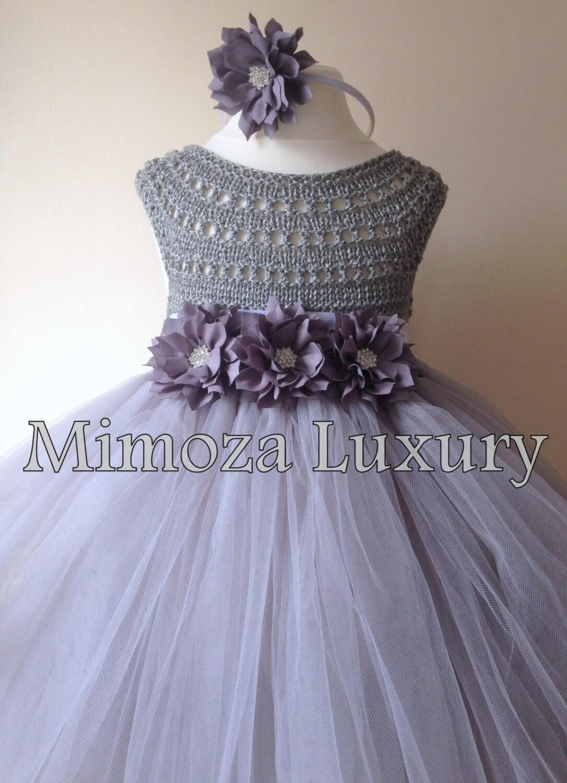 Grey Flower Girl Dress Grey Tutu Dress Grey Bridesmaid Dress