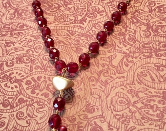 Long red necklace, Valentines Day, red and gold, extra long necklace, red beaded necklace, handmade jewelry, gift for her