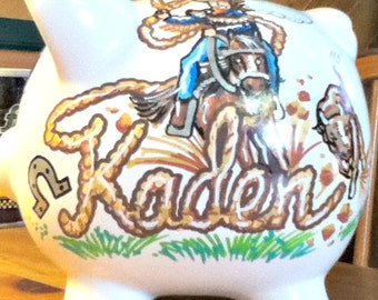 Personalized Piggy Bank Cowboy Design Horse Rope Handpainted