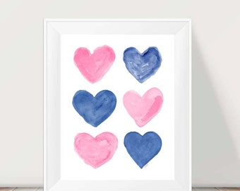 Pink and Navy, Pink and Navy Nursery Art, Pink and Navy Kids Wall Decor, Pink and Navy Art, Kids Playroom Decor, Pink and Blue Wall Decor