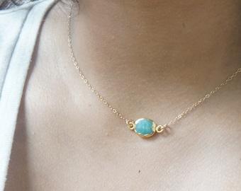 Gemstone Necklace Blue Amazonite Gem Slice Necklace Gold Choker Necklace Minimalist Layered Necklace Boho Jewelry Necklace Gift for Women