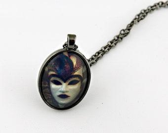 Masquerade Necklace, Gunmetal, Digital Art Picture, Clown Necklace