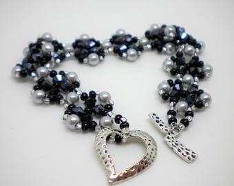 Black Crystal and Silver Pearl Bracelet, Black & Silver, Beadwoven Bracelet, Black And Silver Crystal Flower,Beadwork, Beadwoven, Gifts