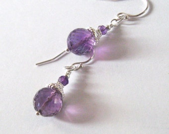 Amethyst Gemstone Drop Earrings Sterling Silver Filigree, February Birthstone, Ear Wire Options